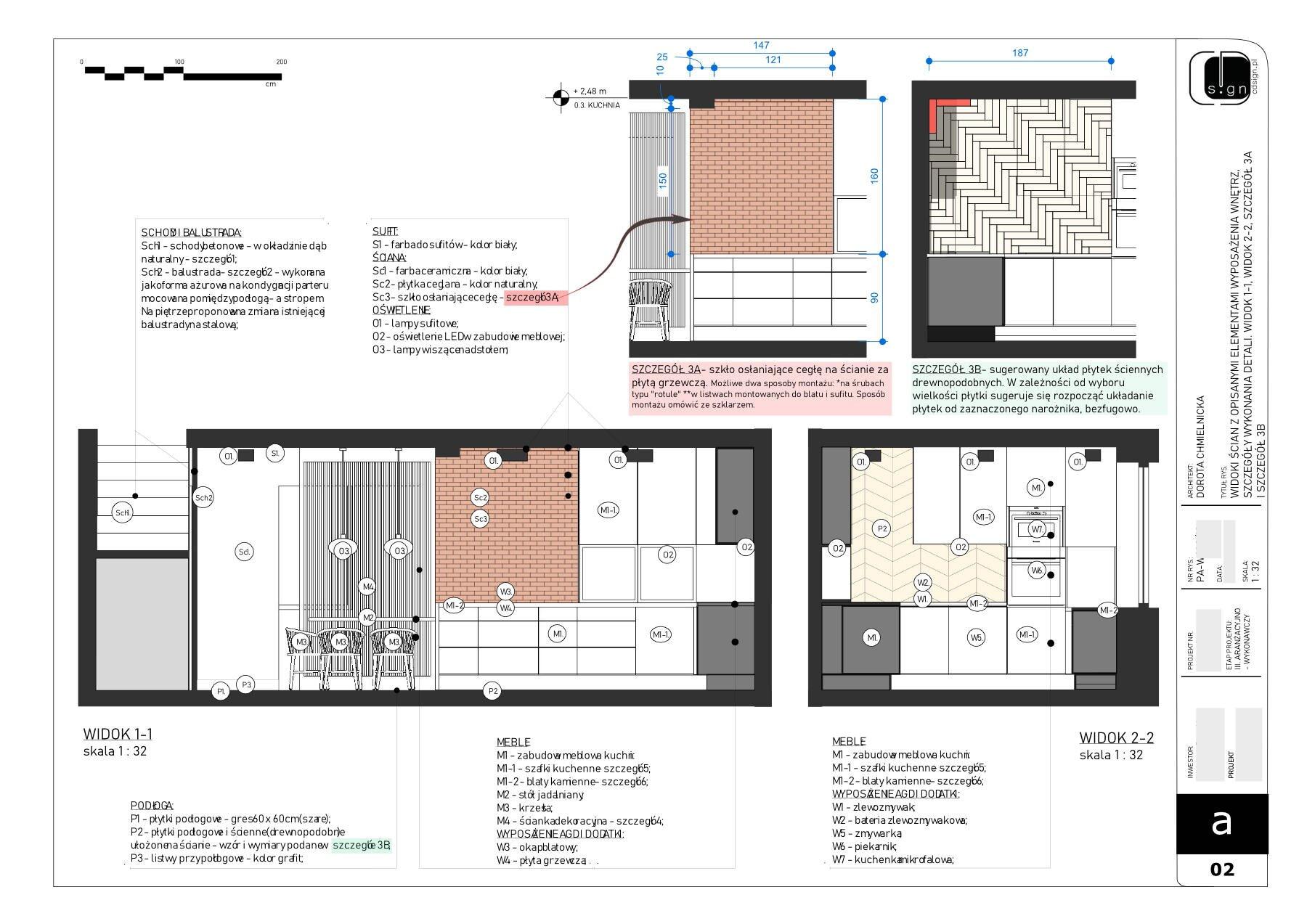 Widoki ścian - projektowanego pomieszczenia