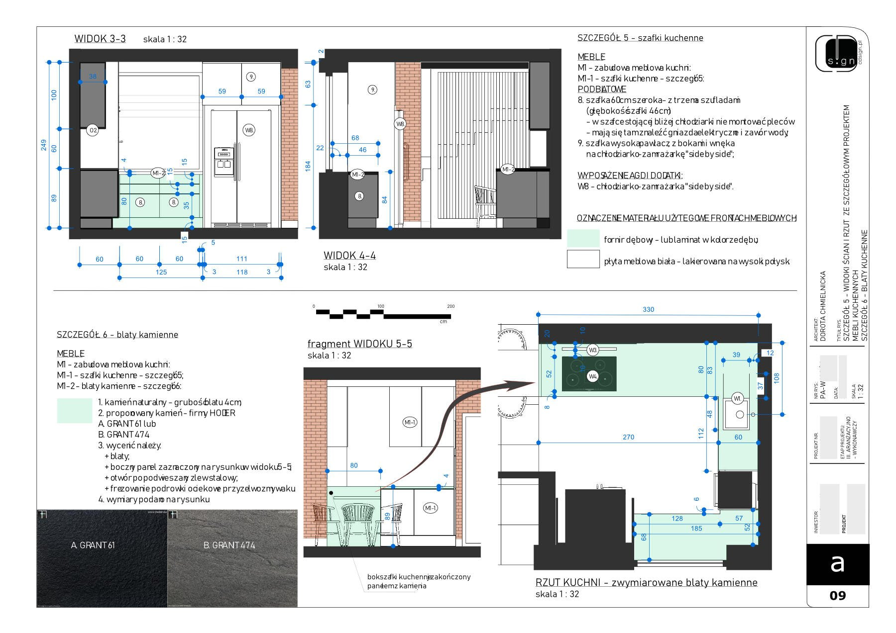 Rysunki projektowanych mebli i innych szczegółów