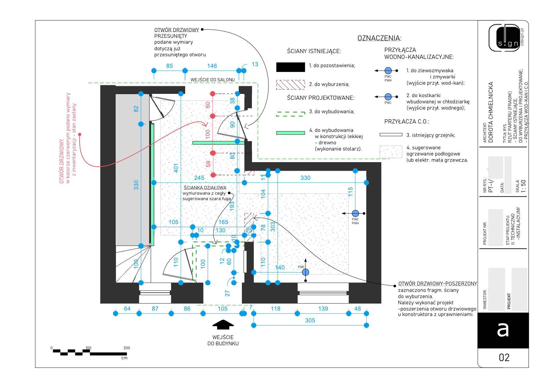 Projekt rozmieszczenia ścianek działowych i wyjść instalacji wodno-kanalizacyjnej.