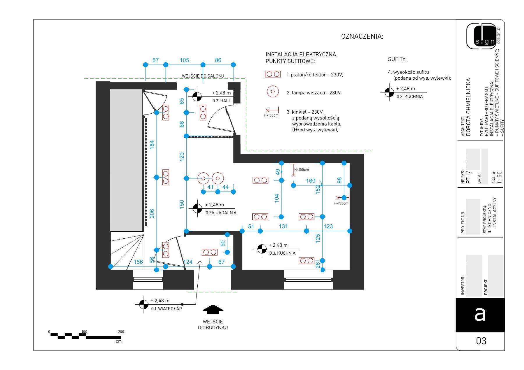Projekt rozmieszczenia punktów świetlnych instalacji elektrycznej.