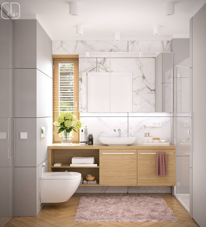 projekt wnętrz łazienki w domu w piekarach śląskich