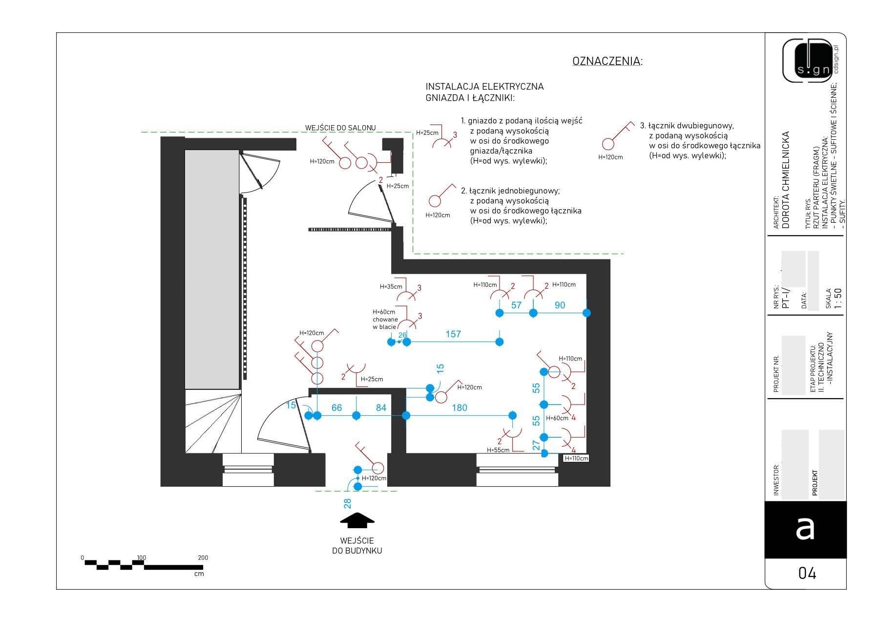 Projekt rozmieszczenia włączników i gniazd instalacji elektrycznej.