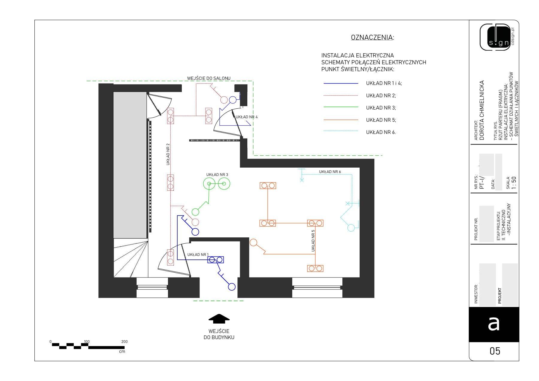 Schemat działania instalacji elektrycznej.